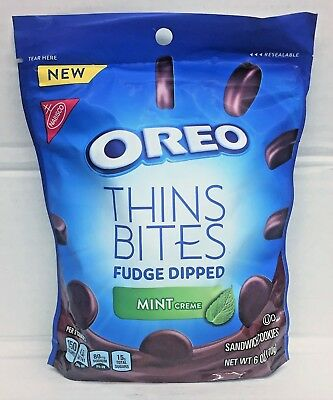 Fudge Bites - Nabisco Oreo Thins Bites Fudge Dipped Mint Creme Sandwich Cookies 6 oz