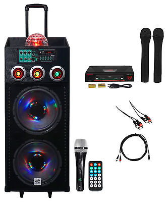 "NYC Acoustics Dual 12"" Karaoke Machine/System w/2) Mics 4 ipad/iphone/Android/TV"