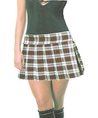 Red Plaid Schoolgirl Skirt (CREAM RED BLACK SCHOOLGIRL PLAID TARTAN PLEATED MINI SKIRT 13