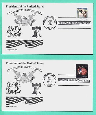 DONALD TRUMP 2017 INAUGURATION COVER SET/2 W/FLAG-FIREWORKS STAMPS,ASHLEY CACHET - $1.75