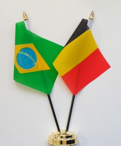 Brazil & Belgium Double Friendship Table Flag Set