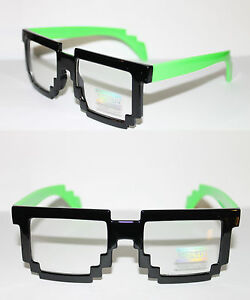 Tetris-Square-Pixel-Shape-Mens-Glasses-Geek-Retro-Unique-Black-Green-Clear-lens