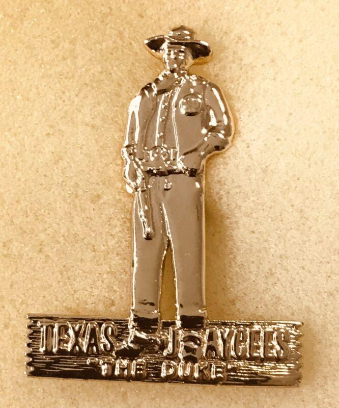 Texas Jaycees The Duke, John Wayne Bright Gold Pewter Pin, 1980 Delegate Pin