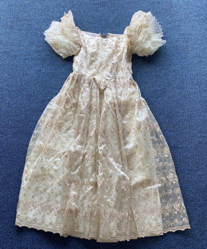 Civil War/Victorian Era Ballgown, Ivory/gold embroidered, Custom Made