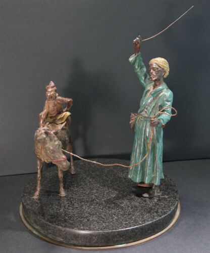 Austrian School Cold Painted Bronze of Arab w/Monkey Riding Donkey Early 20th C.