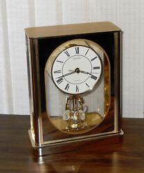 SEIKO Japan Brass Anniversary Quartz Mantel Mantle Desk ROTATING PENDULUM CLOCK