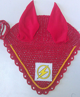 THE FLASH FLY VEIL HORSE RIDING EARNET CROCHET EAR BONNET HOOD EQUESTRIAN EQUINE](Cheap Horse Costume)