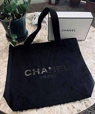 Chanel VIP Gift Thick Tote Canvas Bag with Chanel Logo Plastic Wrap (Black Gift Wrap)