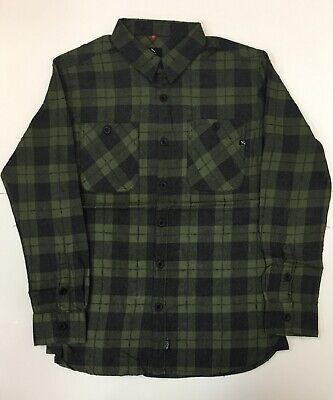 LOST Enterprises Men's Scuffed Long Sleeve Plaid Flannel Olive Shirt. - Olive Plaid Flannel