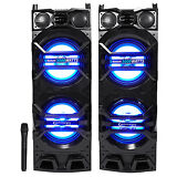 """Pair Technical Pro Dual 10"""" Powered 3000w Bluetooth Speakers w/USB/SD/LED+Mic"""