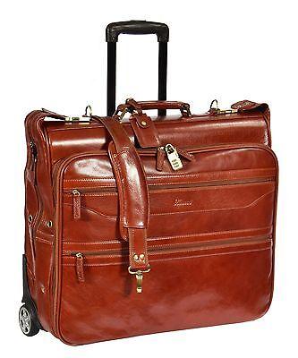 COGNAC Leather Suit Garment Dress Carrier Business Travel Weekend Rolling Bag