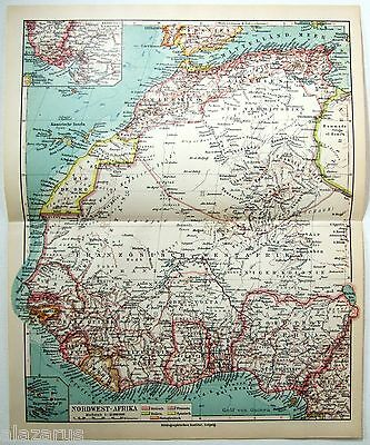 Original 1924 German Map of Northwest Africa