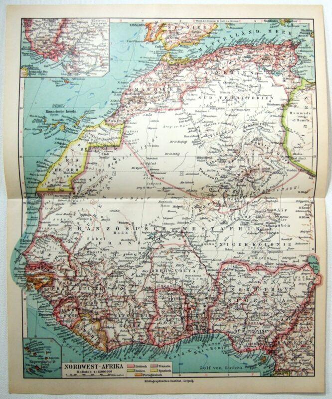 Original 1924 German Map of Northwest Africa by Meyers. Vintage