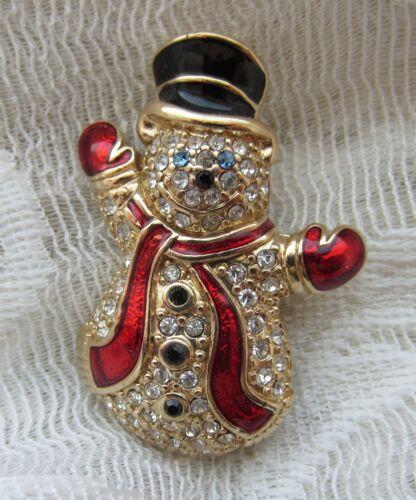 VINTAGE MONET GOLD TONE RHINESTONE ENAMEL SNOWMAN BROOCH PIN CHRISTMAS