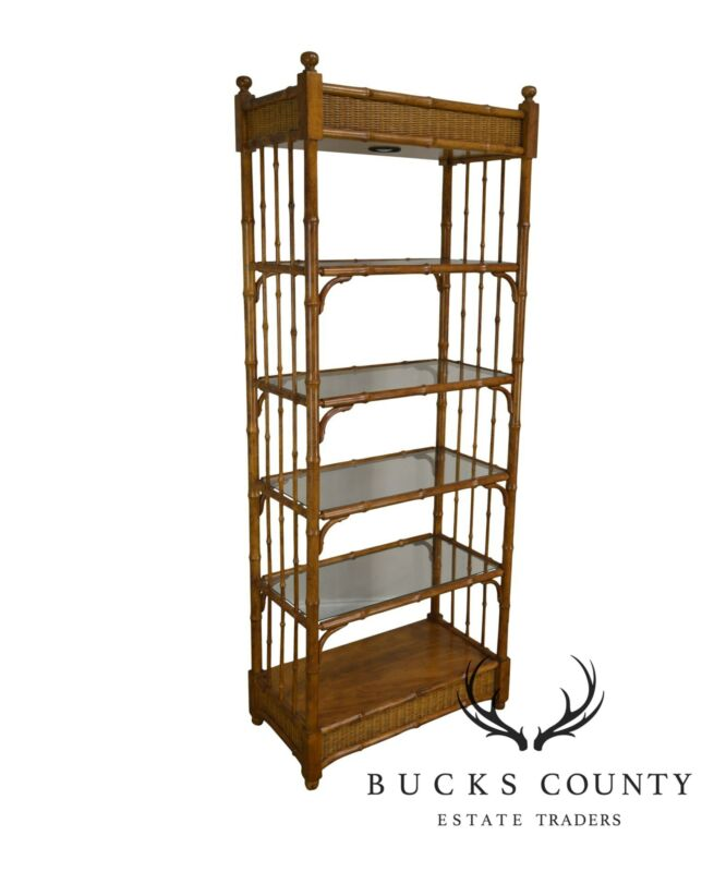 Faux Bamboo & Wicker Etagere Bookcase