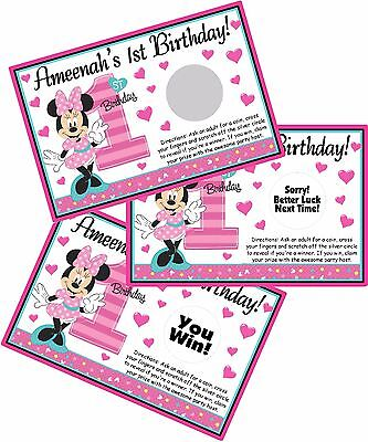 Minnie Mouse 1st Birthday Party Favors (10 MINNIE MOUSE FUN TO BE ONE SCRATCH OFF OFFS PARTY CARDS 1ST BIRTHDAY)