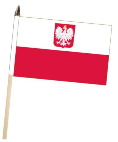 Poland State Eagle Large Hand Waving Courtesy Flag