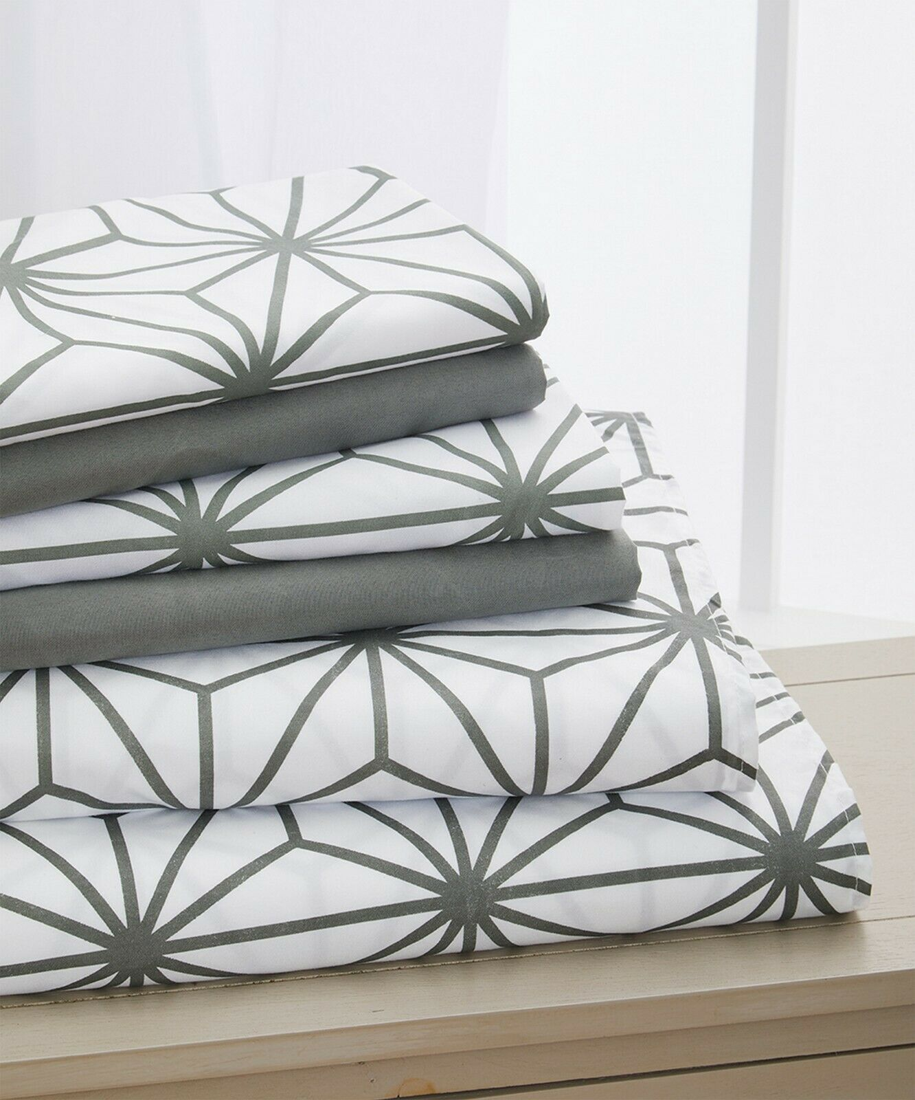 6 piece cube pattern bed sheet set