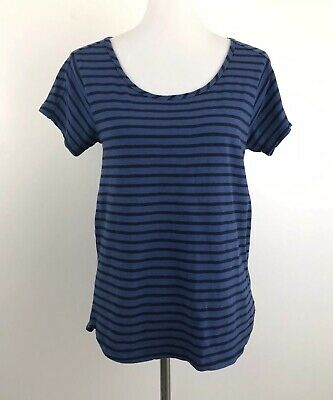 - Garnet Hill Womens Small Pullover Stripe Tee Top Blue Scoop Neck Essential