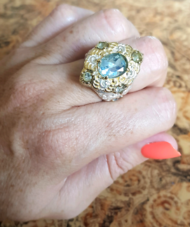 Gold and Silver Blue Topaz Ring, size 8 US, Sterling Silver, NEW South Brisbane Brisbane South West Preview