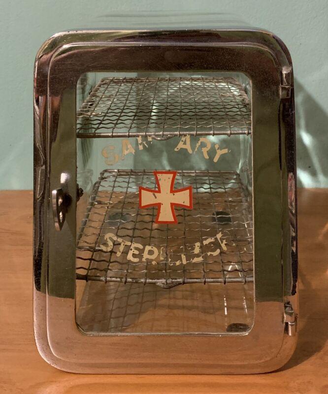Antique Sanitary Sterilizer Medical Dental Glass Display Case