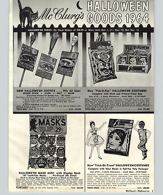 1964 PAPER AD 8 PG Ben Cooper Halloween Costumes Masks Gremlin Monster Cartoons](Gremlin Halloween Costumes)