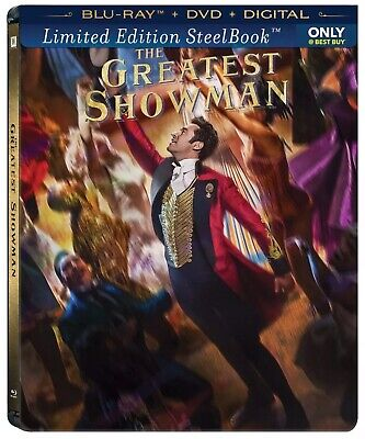 THE GREATEST SHOWMAN BLURAY+ DVD+ DIGITAL *BEST:BUY* USA STEELBOOK NEW+SEALED