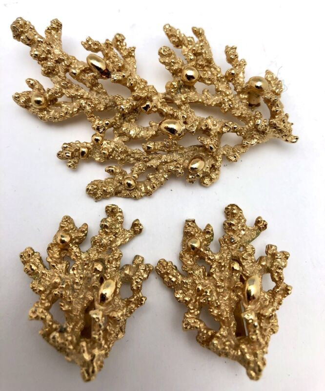 Vintage Napier Gold Coral Brooch Pin &clip Earrings