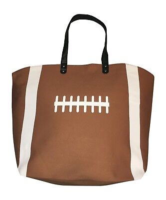Brown Football Canvas Tote Sports Beach Bag Purse, Best Football Mom