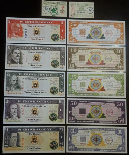 Set 5 Billete PUERTO RICO MINT Personaje Ilustre vale GOOD FOR IN TRADE Currency