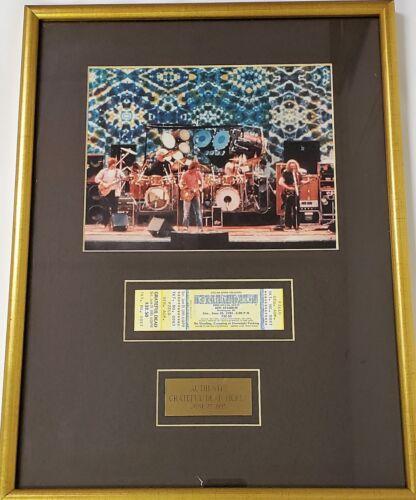 Framed Grateful Dead unused concert ticket and photo