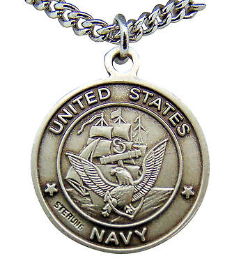"St Michael US Navy Sterling Silver Saint 15/16"" Medal Necklace with Chain"