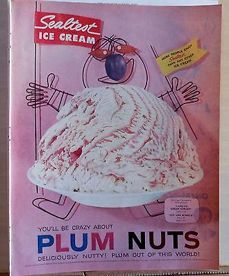 "1958 magazine ad for Sealtest Ice Cream - Plum Nuts ice cream ""man"" with banner"