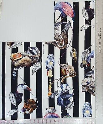 House of Hackney EMPIRE black white stripe cotton animal fabric craft remnant
