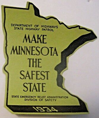 RARE NOS VINTAGE 1934 MINNESOTA STATE PATROL POLICE AUTOMOBILE STICKER / DECAL