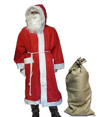 Weihnachtsmannkostüm Weihnachtsmann Mantel Perücke Gürtel Jutesack !Zur (Weihnachten Kostüme Accessoires)