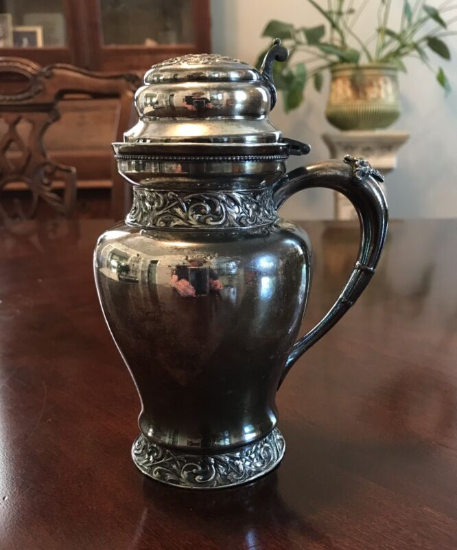 Antique Meriden B. Co. Silver Plate Repousse Syrup Pitcher Circa 1870s