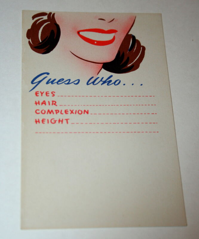 Vintage 1940s GI WWII War Army Cartoon Guess Who Postcard NOS Unused