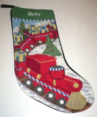 BABY Christmas Train Holiday Collectible Needlepoint Stocking