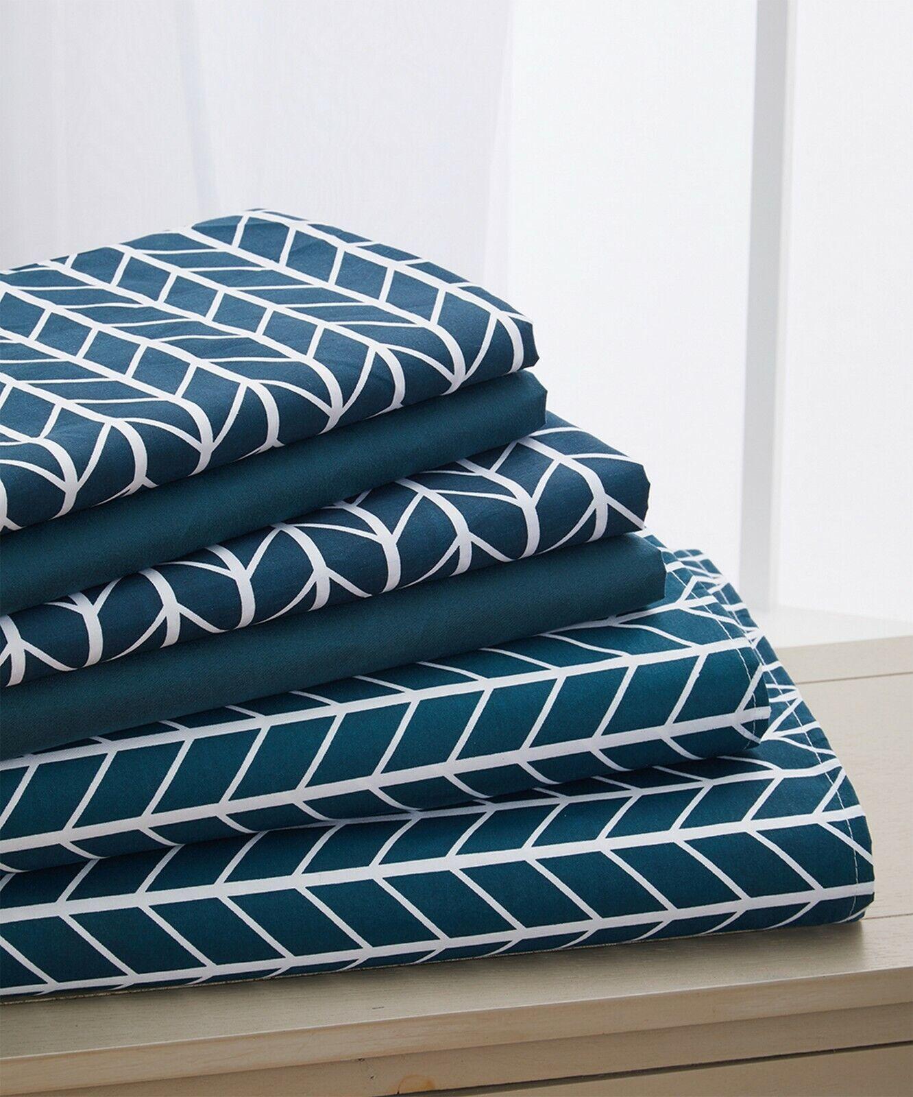 Elegant Comfort 6-Piece Herringbone Pattern Bed Sheet Set