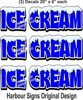 3 Ice Cream Decal 20 X 6 Cone Concession Restaurant Food Truck Vinyl Sticker