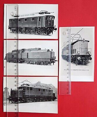 4 x Eisenbahn Foto alte Abzüge E-Lok Lokomotive E21 51, E178 03, E15 01 ( 24147