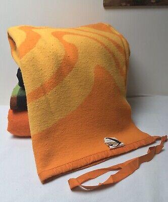 Vintage Double Orange Yellow Belgian Cryldia Swirl Blanket - Viscose Acrylic