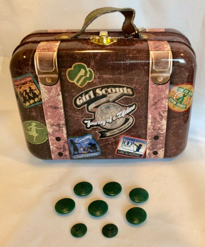 Vintage Girl Scout Buttons With 100 Anniversary Tin