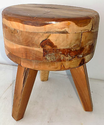 Pouf Stool teak solid wood colour natural cm 45hx38 seat chair