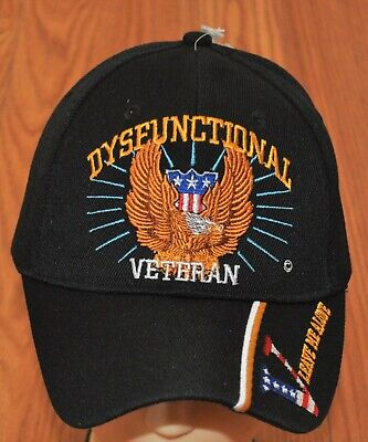 New Black Dysfunctional Veteran Hat Baseball Ball Cap Military Army Navy Marines