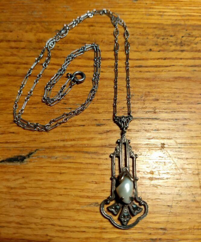 Antique ART NOUVEAU LAVALIER PENDANT Necklace Natural Pearl Sterling Edwardian