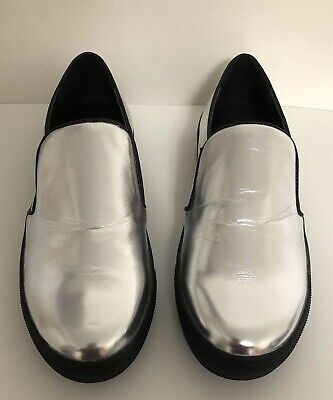 Versace Italia 1969 Geovana Vegan Leather Metallic Silver Slip On Shoes Size 7M