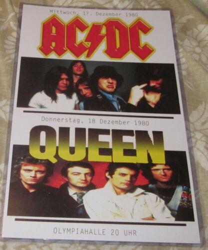AC/DC & QUEEN 1980 GERMANY REPLICA CONCERT POSTER