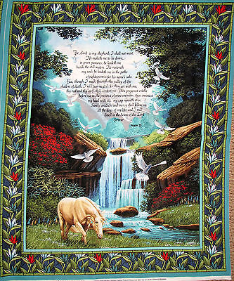 Psalm 23 Religious The Lord Is My Shepherd Bible Cotton Fabric 36 X44  Panel